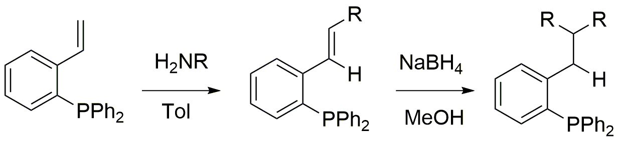 Iminophosphine ligands and aminophosphine ligands prepared from diphenylphosphine benzaldehyde and primary amines